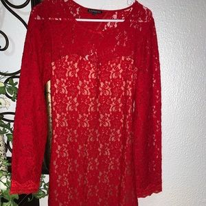 Red lace backless express dress